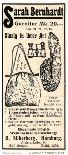 Original-Werbung/Inserat/ Anzeige 1902 - SARAH BERNHARDT GARNITUR / SILBERBERG HAMBURG ca. 120 X 45 mm