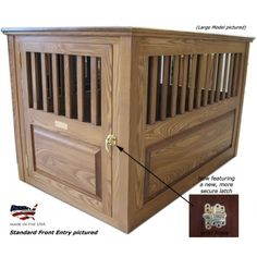 Item#: CLA-44    Three sizes and 5 finish options, Solid Ash wood raised panels with removable top ... made in the USA!   Ash Wooden Dog Crate        Solid wood dog crate with raised panels! Handcrafted and manufactured by a craftsman with over 35 years of wood furniture
