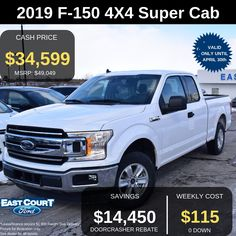 """Stock# 04.02 - 9F1418  8 FEET BOX WITH 5 LITER V8 ENGINE.   OWN IT FOR $115/W   Some of the other features are:  >17"""" Allum All Season Tires,  > GVWR Package  >136 Liter Fuel Tank  >Ford Pass Connect.... Ford Employee, Delivery Pictures, All Season Tyres, Car Deals, 2019 Ford, Car Ford, Ontario, 4x4, Connect"""