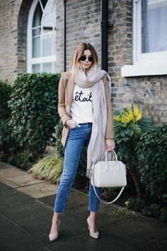 Emma Hill wearing Camel blazer, etoile sweater, slim leg raw hem jeans, ivory Givenchy Antigona bag small, chic winter outfit