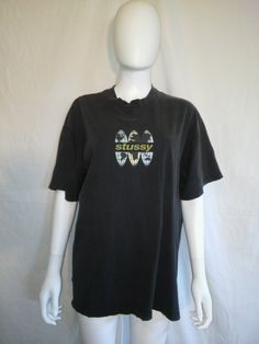 STUSSY 90s black t shirt by ATELIERVINTAGESHOP on Etsy