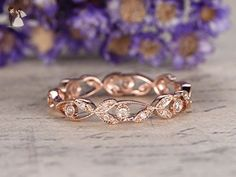 Solid 14k Rose Gold Ring,Floral,Full Eternity Band,Diamond Engagement Ring,Diamonds Wedding Band,Anniversary Ring,Stacking Band,Bezel - Wedding and engagement rings (*Amazon Partner-Link)