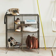 Wire Floor Storage - I love the whole range of furniture in this style from Graham and Green.