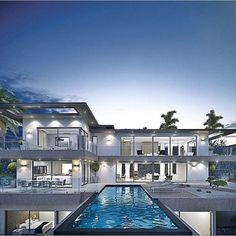 Stunning modern home with an infinity pool.
