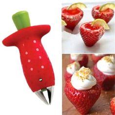 FD3763 new Strawberry Berry Stem Gem Leaves Huller Remover Removal Fruit Corer Tool