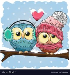 Illustration about Two cute drawn Owls sits on a branch in a snow. Illustration of cute, eyes, holidays - 102086493 Owl Clip Art, Owl Art, Cartoon Mignon, Cute Owl Cartoon, Owl Quotes, Art Fantaisiste, Branch Vector, Christmas Owls, Dibujos Cute