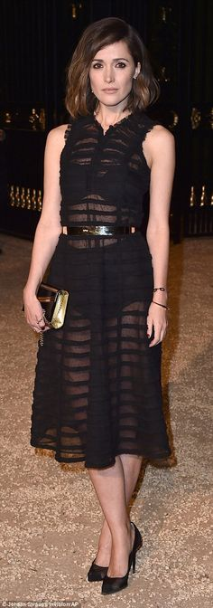 Sheer style: Rose Byrne also opted to show her bra and knickers in a sleeveless see-throug...