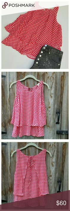 """Set the Tempo Top Adorable double layer sleeveless swing top in red and white check. Tie neck, loose fit, top layer split in back. Length from back of neck 21', width at bust 20"""", width at hem 28"""". 100% polyester, hand wash. ModCloth Tops"""