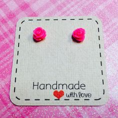 Tiny Hot Pink Detailed Rose Earrings sensitive by monsterandbeanie