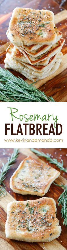 Rosemary Sea Salt Flatbread The PERFECT appetizer or side dish to serve with dinner! This bread is SO quick and easy to whip up. It's lightly fried in olive oil and topped with fresh rosemary and sea salt. The perfect combination! Bread Recipes, Cooking Recipes, Chicken Recipes, Vegan Recipes, Lasagna Recipes, Carrot Recipes, Cabbage Recipes, Broccoli Recipes, Roast Recipes