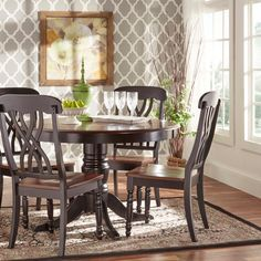 Inspire Q Mackenzie Country Style Two-Tone Round Scroll Back Dining Set by Classic Black 5 Piece Sets Black Dining Set, Black Dining Chairs, Cheap Dining Room Chairs, Dining Room Bar, Upholstered Dining Chairs, Dining Chair Set, Side Chairs, Dining Table, Dining Sets