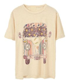 Beige Loose Fit T-shirt with Cartoon Car Print. Boho style .