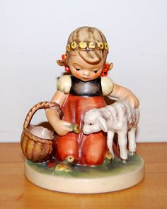 Vintage HUMMEL Goebel Figurine FAVORITE PET 361 TMK5 Girl w SHEEP Germany 21.70