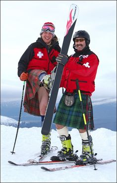 Cairngorm Mountain ski patrollers Kerr McWilliam and Eric Pirie. Kilted skiing on Caringorm Mountain is an annual event to raise money for local Scottish charities.    image:http://www.meejahor.com/?s=kilt