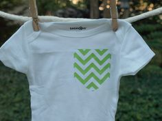 Baby Clothes NEON Chevron Pocket Onesie Baby Bodysuit MORE COLORS