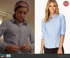 April's blue polka dotted button down shirt on Chasing Life.  Outfit Details: http://wornontv.net/44306/ #ChasingLife