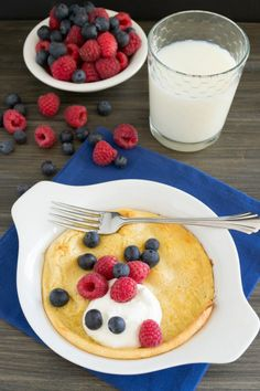 Puff Pancake...Bake whole wheat pancakes for an easy breakfast. I top these with greek yogurt and berries and they are delicious!