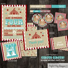 "BIRTHDAY Circus Circus EXTREME Printable Birthday Party Pack for Boy OR Girl!    ◆This EXTREME package includes the following PRINTABLE Designs:    -Invitation Design (5x7 or 4x6)  -Thank you card Folded (5x7 or 4x6)  -Tent Style Buffet Label (3x5)  -15 Card ""HAPPY BIRTHDAY"" Banner  -Favor Tags  -Cupcake Toppers  -3 Matching Pattern Paper     by Perfect Pear Designs, $40.00"