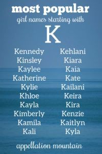 Kennedy, Keira, Katherine + all of the most choices for our daughters beginning with the #letterK #girlnames #namingbaby #babynames #appellationmountain