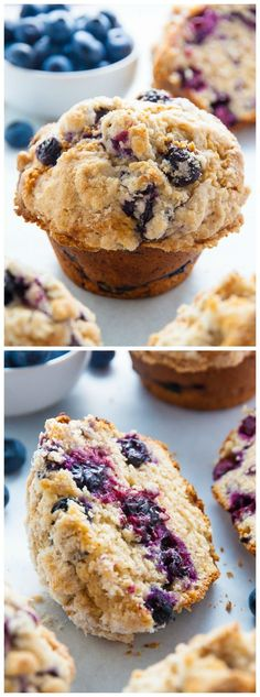Jumbo Blueberry Crumb Muffins - Baker by Nature