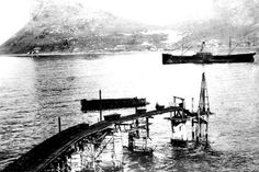 The Manganese Loading Jetty, near Flora Bay, Hout Bay Old Pictures, Old Photos, Vintage Photos, Cape Town, South Africa, Flora, Old Things, Helicopters, Camps
