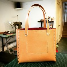13 Inch Cashew Leather Tote with brilliant red lining.....delicious!