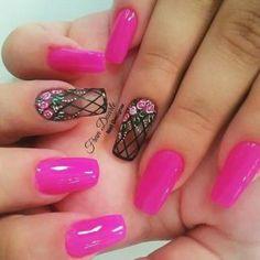 Mani Pedi, Pedicure, Cute Nails, Pretty Nails, Hair And Nails, My Nails, Nail Art Blog, Pink Nail Designs, Flower Nails
