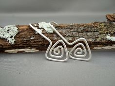 Triangle Spiral Sterling Silver Drop Earrings by TheSilverForge, $24.00