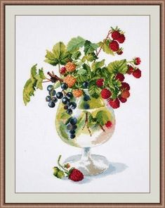 Cross Stitch Kits Berry Liqueur Cross Stitch Kit - Finished size Comes with a Aida, 29 shades of threads, needle and instructions in english. This kit is embroidered in 2 threads. Embroidery Flowers Pattern, Embroidery Patterns Free, Embroidery Kits, Flower Patterns, Cross Stitch Embroidery, Modern Cross Stitch, Cross Stitch Kits, Design Your Own, Needlework