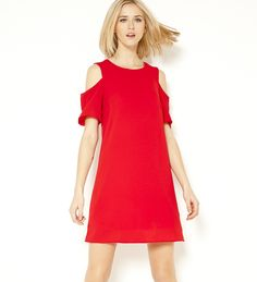 Robe épaules dénudées rouge Camaïeu 2017
