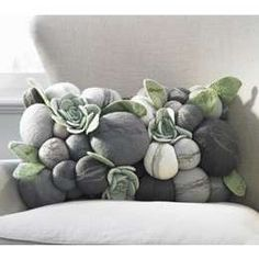 felted stone/succulent lumbar pillow available from thefoundrey.com