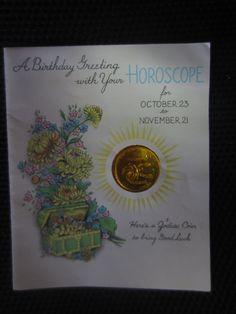 Vintage 1938 birthday Greeting Scorpio HOROSCOPE with Zodiac Coin kitschy