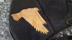 "Falconry Glove 15""Custom Tooled Flying Hawk 1 Sided Black Double Layered | eBay"