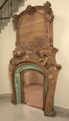 Art Nouveau Fireplace by Emile Muller, Charles Gréber, and Hugnet Frères Art Nouveau Interior, Art Nouveau Furniture, Art Nouveau Architecture, Art Nouveau Design, Architecture Details, Muebles Estilo Art Nouveau, Belle Epoque, Fireplace Surrounds, Arts And Crafts Movement