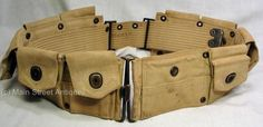 Original-WWI-US-M1917-Mounted-Ammunition-web-Belt-with-snap-for-Pistol-Magazine