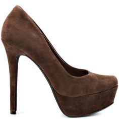 Earn your fashion credentials in this stunner from Jessica Simpson. Waleo brings you a soft dark brown suede upper. This pump is complete with a picture perfect almond shaped toe, 4 3/4 inch heel and 1 1/4 inch platform.