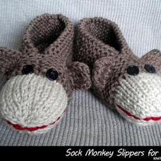 Sock Monkey Baby Booties : Sock Monkey Slippers for Adults Knitting Projects, Crochet Projects, Knitting Patterns, Crochet Patterns, Knitting Tutorials, Stitch Patterns, Sock Monkey Baby, Sock Monkey Pattern, Monkey Hat