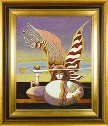 LIESLER JOSEF - ANDĚL S VAHADLOVÝM TORZEM. Technika: olej na lepence. Rozměr bez rámu: 53 x 43 cm. Rozměr s rámem: 70 x 60 cm. #art #gallery #liesler #design #painting #style #interiordesign #stylish #home