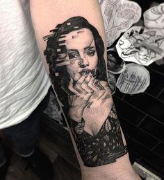 Glitch Portrait Tattoo by @maxamos /// #⃣#Equilattera #tattoo #tattoos #tat…