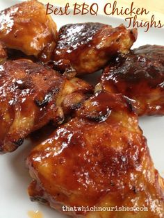 Best BBQ Chicken Thighs Barbecue chicken thighs are inexpensive and beyond delicious. You can avoid the grill and guesswork and have amazing chicken on the table in just a few easy steps. Baked Bbq Chicken Thighs, Best Bbq Chicken, Grilled Chicken Recipes, Grilled Meat, Baked Chicken, Chipotle Chicken, Barbecue Chicken Grilled, Bbq Chicken On Grill, Crockpot Bbq Chicken