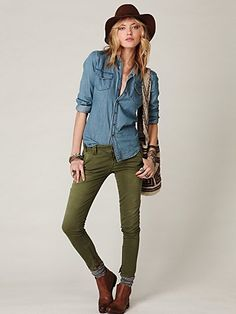 Army Green Jeggings, Lace Top, Ankle Boots Paired with a Utility ...