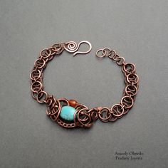 Copper bracelet and natural stones from Fradany by DaWanda.com