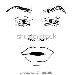 Close up of beautiful female face. Hand drawn Vector illustration