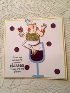 Stamped image twice, colored & cut out.  Die cut glass & added crystal effects to both wine glasses. Drew champagne bubbles with copics.  Stamped message & added burgundy circles.