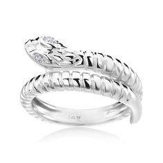 Add a touch of rock & roll elegance to your look with this stunning 14-karat white gold ring. The unique, wraparound ring is crafted in the shape of a snake. Delicate detailing along the body and head add texture and sophistication to the design. Rock Style.