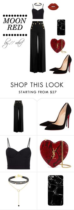 """""""•Moon Red•//by-rahrf"""" by rahrf ❤ liked on Polyvore featuring RED Valentino, Christian Louboutin, Alexander Wang, Yves Saint Laurent and Lime Crime"""