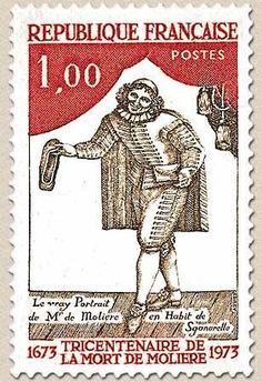 1973 French postage stamp to commemorate 300th anniversary of death of Molière