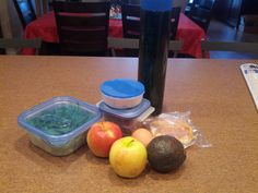 Typical Lunch / All Organic: 2 apples, avocado, hard boiled egg, green leaf lettuce, raw mixed nuts with blueberries, gluten free waffle, water with chlorophyll