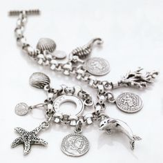 Giovanni Raspini Charm bracelet with coin and sea charms