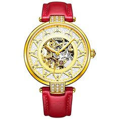 BUREI Womens Automatic Skeleton Wrist Watch with Rose Gold Dial Red Calfskin Leather * Check this awesome product by going to the link at the image.Note:It is affiliate link to Amazon. #startup